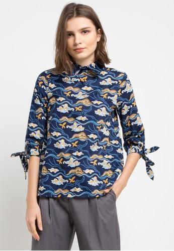 Batik Solo multi and navy Long Sleeve Cotton Print Blouse 9CA8DAA6A483FEGS_1