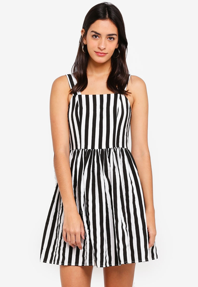 And Flare Black ZALORA Dress Fit Stripes 6dwxFS4q