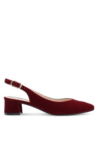 ZALORA 紅色 Slingback Chunky Heels D7A89SH9DF9BFEGS_1