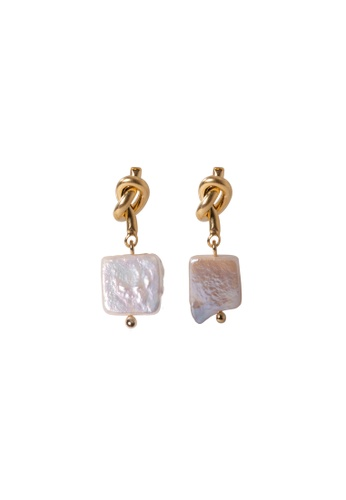 SKEDA gold Tangled Knot & Pearl Drop Earrings 5E3BFACE7507F1GS_1
