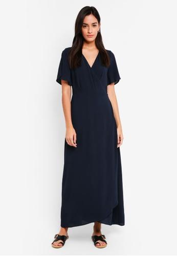 ICHI blue and navy Zarun Dress 8F574AA3D1D537GS_1