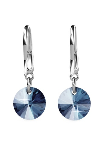 Her Jewellery silver Circlet Hook Earrings (Blue) - Made with premium grade crystals from Austria HE210AC0GJSASG_1
