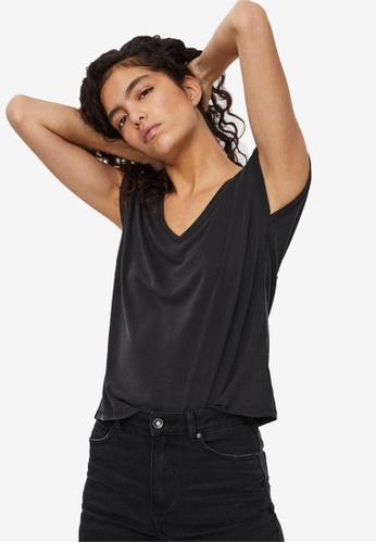 Vero Moda black Filli Cap Sleeve V-Neck Tee D245BAA48A15D6GS_1