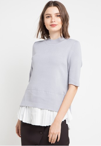 Uptown Girl multi and grey S/S Pleated Hem Combo Blouse 80C71AAF4F1A5EGS_1