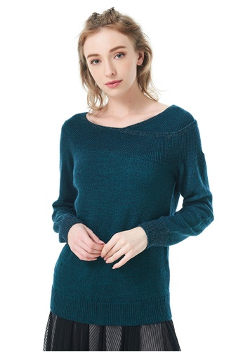 Sisley green Off Shoulder Knitted Sweater E5E10AAC4C760CGS_1