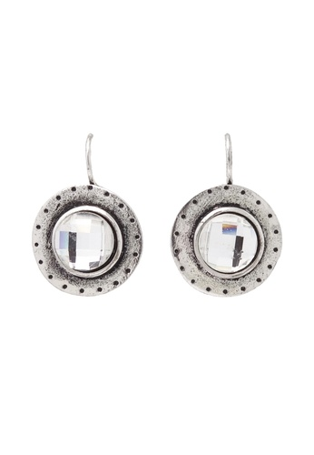 Jaysa Collection silver Clear Disco Ball Cut Rhinestone Stud Earrings JA875AC40SYDSG_1
