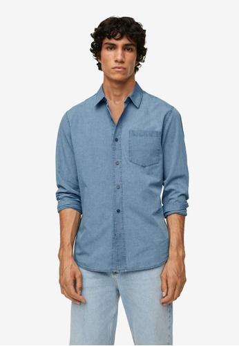 MANGO Man blue Regular-Fit Denim Shirt With Pocket 58E4AAAC5B72C9GS_1