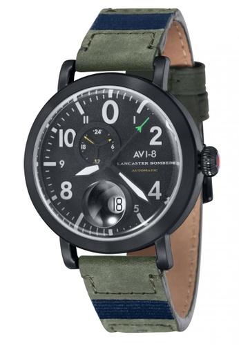 AVI-8 green Lancaster Bomber Men's  Leather Strap Watch AV642AC14JTXPH_1