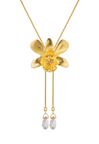 RISIS gold RISIS 24K Gold Plated Natural Dendrobium Thong Chai Orchid Slider /w Crystal Tailend 2C842AC60786C9GS_1