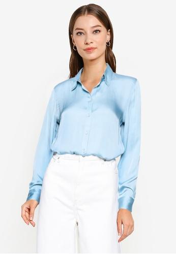 Banana Republic blue Dillon Soft Satin Shirt 57CDCAA5D51B18GS_1