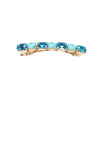 Glamorousky blue Fashion Simple Plated Gold Geometric Blue Cubic Zirconia Hair Clip 5858AACC9CA35BGS_1