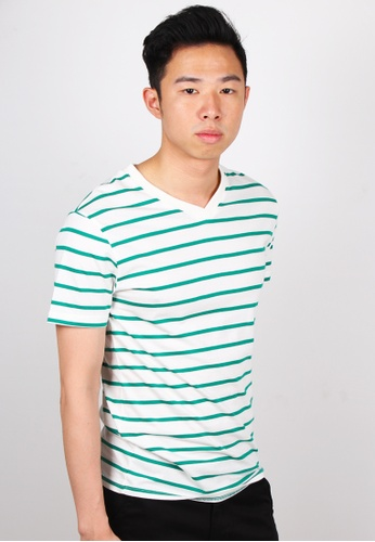 Moley white Striped V-Neck T-Shirt MO329AA57JWWSG_1