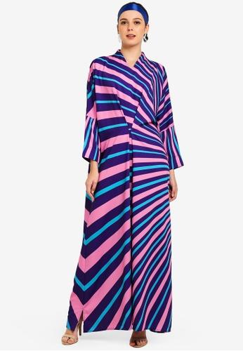 Tom Abang Saufi for ZALORA purple and multi and navy Aisha Kaftan 0F1F5AA5B3BD26GS_1