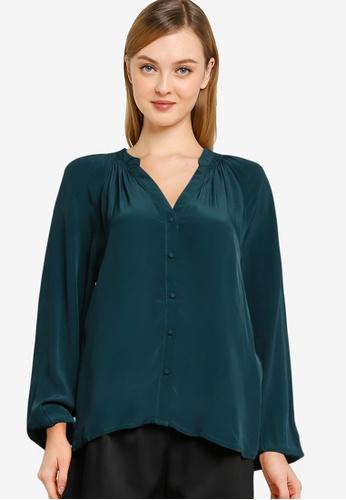 Vero Moda green Benata Long Sleeves Smock Detail Shirt 9613AAAC2F306DGS_1