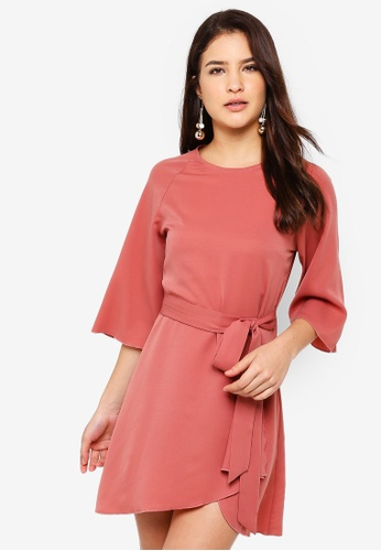ZALORA pink Flare Sleeves Tie Front Dress A5D94AA1586E7BGS_1