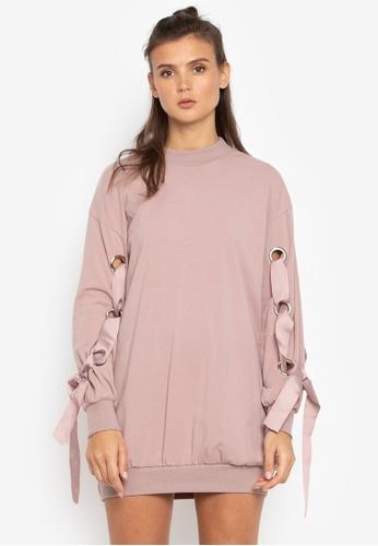Susto The Label pink Jana Eyelet Tie Sweater ED73DAA7229A7FGS_1