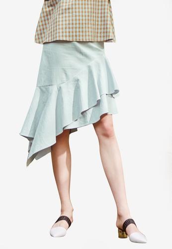 NAIN blue Linen Asymmetric Flare Skirt AFB86AAC98D408GS_1