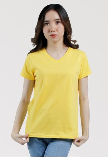 CROWN yellow Ladies VNeck Tshirt A639BAA8B4E97FGS_1
