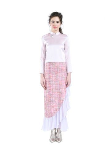Hernani pink Crop Top Satin with High-Waisted Tweed Flare Skirt 56A67AAF15E21BGS_1