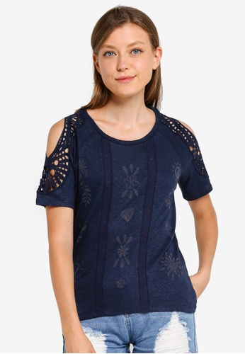 Desigual 藍色 挖肩鏤空刺繡T恤 D5C23AA6F7414FGS_1