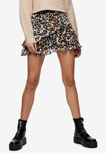TOPSHOP brown Brown Animal Print Ruffle Mini Skirt F672DAA21C4894GS_1