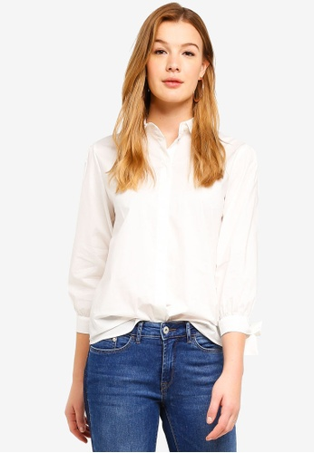 ESPRIT white Woven Long Sleeve Blouse 0AAE2AA63771D5GS_1