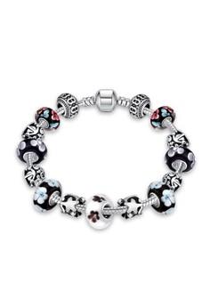 H040 Vintage Flower & Stars Printed Enamel Lucky Beads Pandora Bracelet (Silver Pleated)