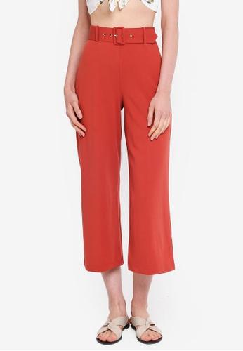 Miss Selfridge brown Belted Crop Wide Leg Trousers 7BAF6AA4778BA7GS_1