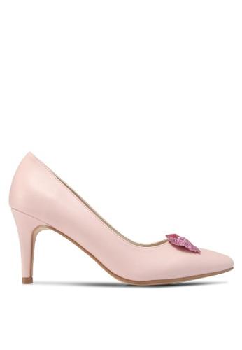 Velvet pink Glitter Bow Low Heels 7ECADSH156186DGS_1