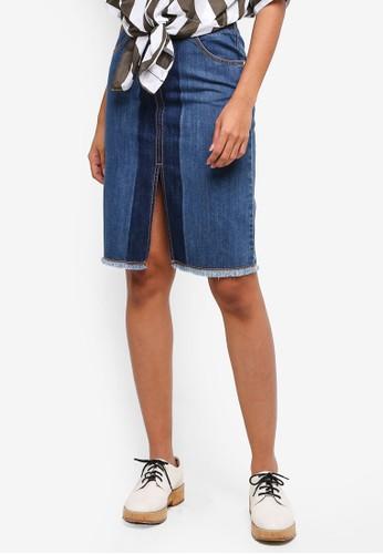 Hopeshow blue Denim Skirt With Front Slit 715B7AAD15EE00GS_1