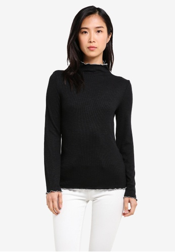 ZALORA black Turtle Neck Top With Contrast Hem B1E22ZZF614748GS_1