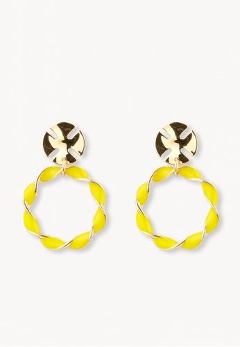 Pomelo yellow Twisted Hoop Drop Earrings - Yellow 2C35DAC827F830GS_1