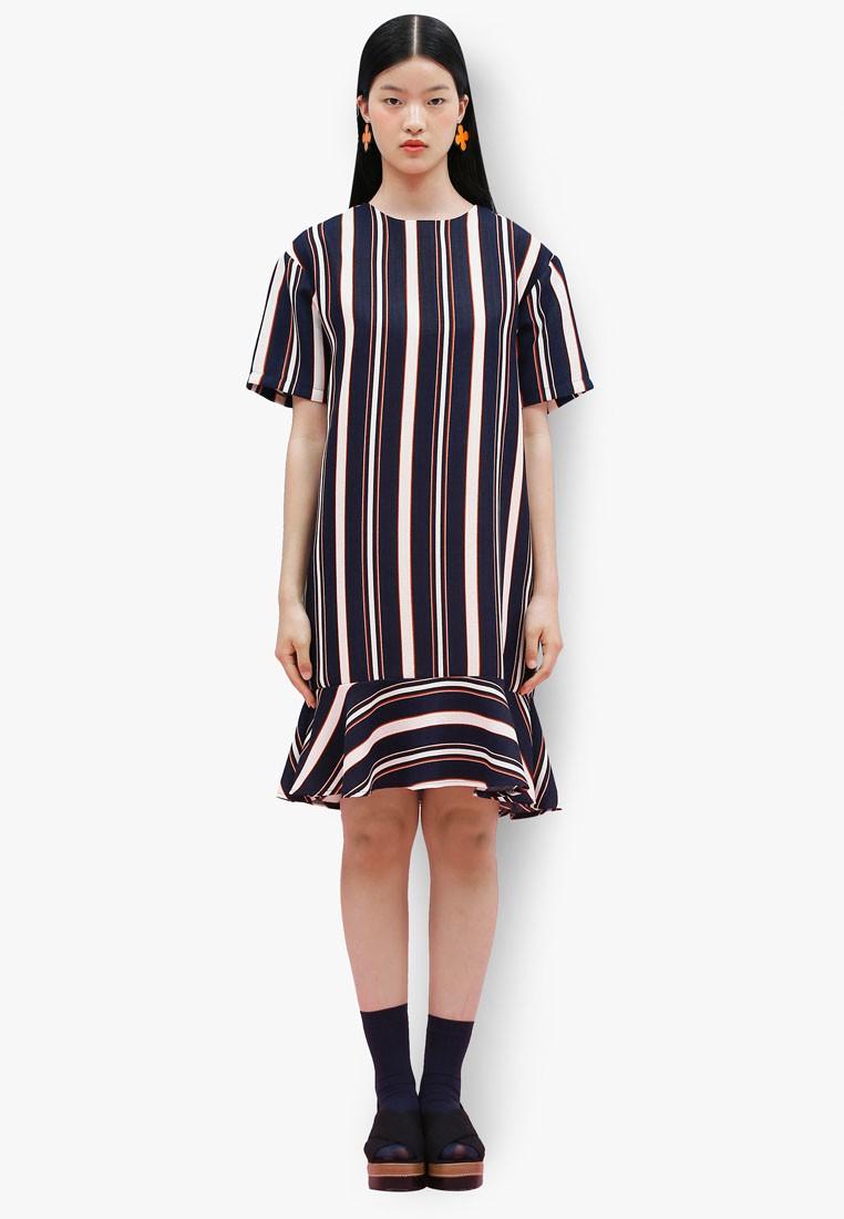 K Style Multi Stripe Drop Hem Dress