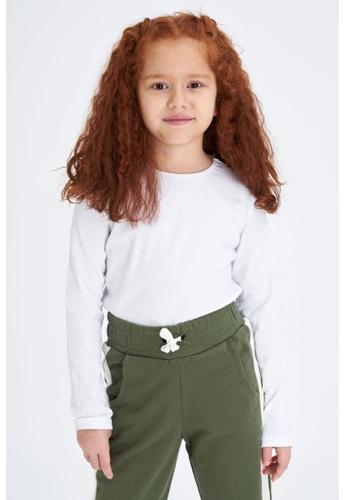 DeFacto white Long Sleeve Round Neck T-Shirt 1936AKA8E1A0E9GS_1