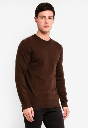 Selected Homme 褐色 素色長袖針織毛衣 ECC02AABA72FC9GS_1