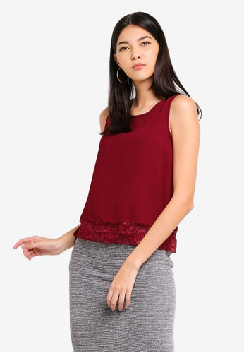 ZALORA red Lace Layer Sleeveless Top B9A84AAF51870AGS_1