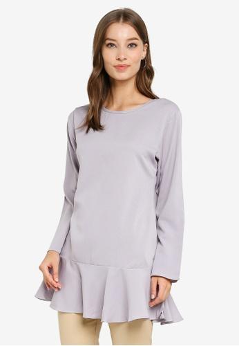 Aqeela Muslimah Wear grey Back Button Blouse B8C5BAA4BF72E7GS_1