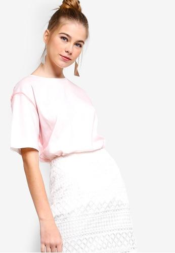 Something Borrowed pink Mesh Overlay Tee 88A63AA754883CGS_1