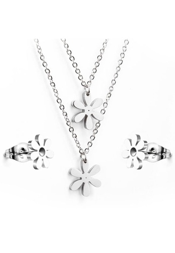 Greatvalueplus silver Silvertone Double Floral Pendant Necklace and Stud Earrings by Zumqa GR688AC63HZKPH_1