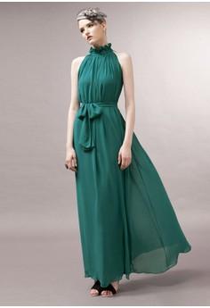 Women's Elegant Turtleneck Solid Floor-Length Sleeveless Straight Dress