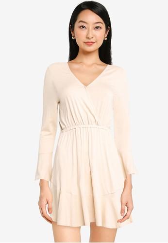 ZALORA BASICS beige Fit & Flare Wrap Dress 86924AA5E70364GS_1