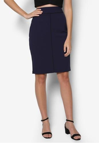 配色滾zalora 衣服尺寸邊鉛筆裙, 服飾, 裙子