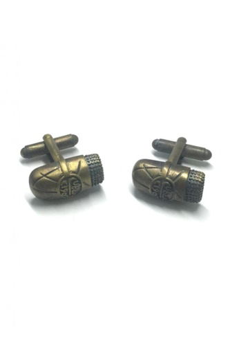 Splice Cufflinks gold Antique Brass Ancient Stone Cufflinks   SP744AC40DMLSG_1