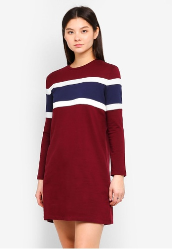 Something Borrowed red Color Blocked Sweater Dress 0B7A3AAC873376GS_1