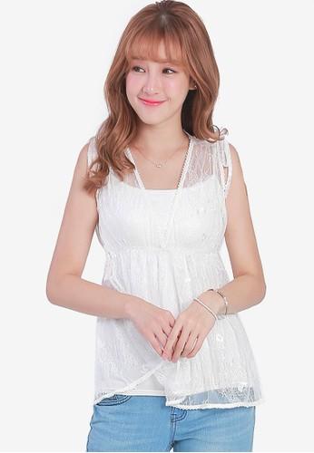 Yoco white Lace Babydoll Top 1692CAAE07278BGS_1
