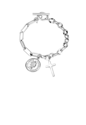 Glamorousky silver Fashion Creative Cross Coin 316L Stainless Steel Bracelet 0C7E9ACBA711DBGS_1