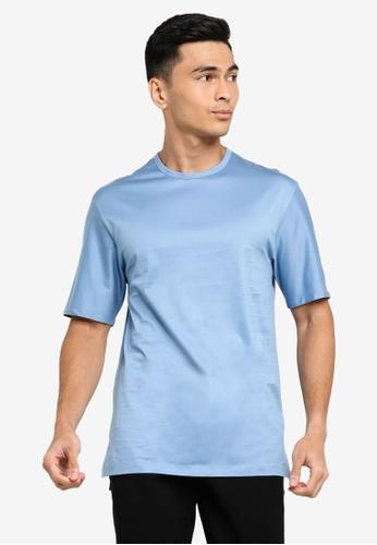 ck CALVIN KLEIN blue DOUBLE MERCERISED COTTON TOP WITH INSIDE LOGO TAPE 220D4AA36E2031GS_1