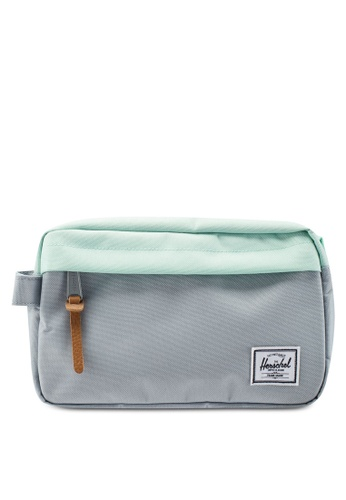 Herschel grey and green Chapter Travel Pouch 3DEB8ACB42E442GS_1