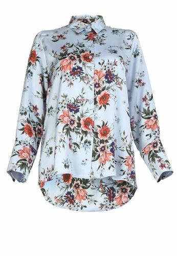 POPLOOK blue Itzayana Front Button Shirt 46E05AA3EC6C63GS_1