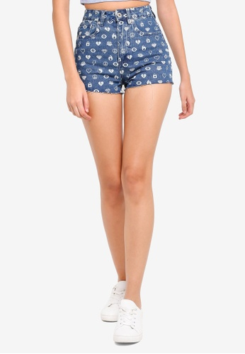 Factorie blue Printed Mom Shorts 0183FAA4A50E0DGS_1